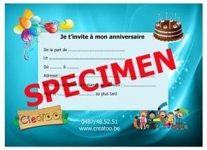 Carton invitation anniversaires CREATOO